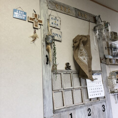 café&bar風扉/壁面扉/DIY/雑貨/100均/セリア リビング小上がり畳スペースの壁面に なん…(1枚目)