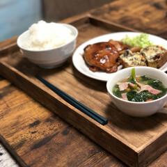 トレイDIY/おうちごはん/DIY/100均/セリア 100均材料で作ったウッドトレイ  ご飯…