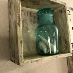 プチプラ/シェル/小瓶/フォロー大歓迎/雑貨/100均/... セリアの木箱をペイントして シャビーな感…