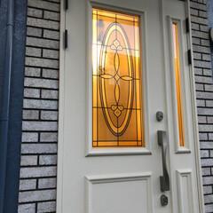 玄関ドア/ペイント/おうち/DIY/ハンドメイド 玄関扉をペイントDIY  ダークブラウン…