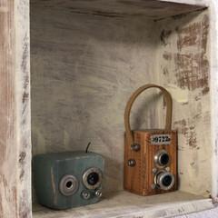 大好きな作家さん/ミニ雑貨/木工木の香/雑貨 木で作った作品 カメラとラジオ  偶然通…