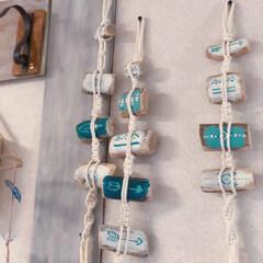 マクラメ編み/流木リメイク/流木/雑貨/ハンドメイド ミニ流木とロープのマクラメ編みを組み合わ…