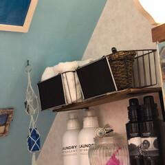 棚/洗剤ボトル/脱衣所/DIY/100均 脱衣所洗濯機置きの壁面に 棚をDIYで取…