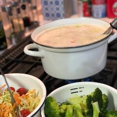 サラダ/シチュー/LIMIAごはんクラブ/フォロー大歓迎/わたしのごはん/おうちごはんクラブ 今夜は鶏肉と白菜のクリーム煮 サラダ🥗 …