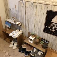 すのこ/靴収納/りんご箱/DIY/100均 玄関には下駄箱があるんだけど 普段ばきが…