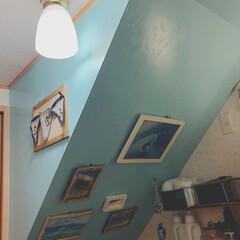 階段下はビーチ/階段下/脱衣所/ペイント/DIY/100均/... 階段下はビーチとネーミングした 脱衣所 …