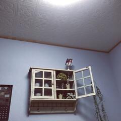 壁面/天井/おうち/雑貨/100均/セリア 壁面はホワイトブルー 天井は模様付きの天…