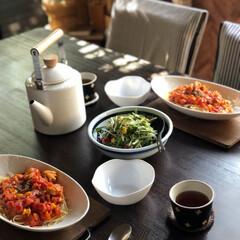 水菜サラダ/パスタランチ/おうちごはん/フード 本日のおうちごはんは 友達のおうちでラン…