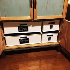 洋服収納/キャンドゥ/インボックス/DIY/100均/ニトリ/... りんご箱で洋服収納を作りました。 ニトリ…