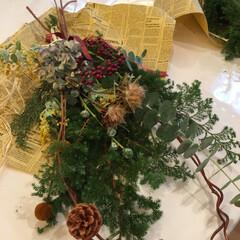 手作り/スワッグ/クリスマススワッグ 初挑戦のスワッグ作りました。長く飾りたい…