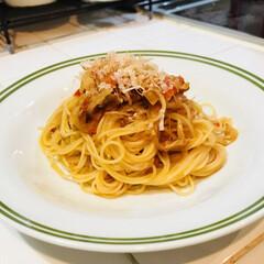 パスタ/おうちごはん/フード 先日作ったトマトとツナのパスタです 麺が…