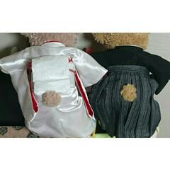 ウェルカムベアー/結婚式/和装/着物リメイク/ハギレ/ダッフィー/... 結婚式のウェルカムベアーの衣装を手作りし…(2枚目)