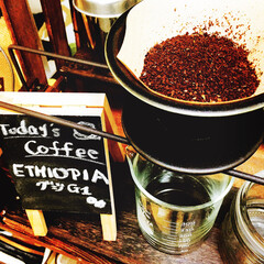 カフェ気分/カフェ風/コーヒー大好き/モーニングコーヒー/自家焙煎珈琲/DIY/... モーニングコーヒー。 エチオピア グジG1