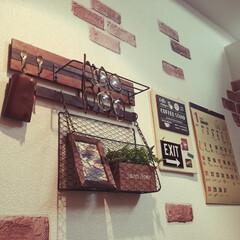 鍵置き場/1K/一人暮らし/リメイクシート/DIY/雑貨/... 玄関に鍵置き場を作ろうをコンセプトに作り…
