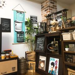 コーヒー大好き/カフェ風/リメイクシート/壁リメイク/セリア 手ぬぐい/DIY/... リメイクシートとコーヒー缶手ぬぐいを購入…