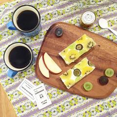 朝ごはん/朝食/オープンサンド/フルーツサンド/オープンフルーツサンド/IDEE/... オープンフルーツサンドに挑戦してみました!