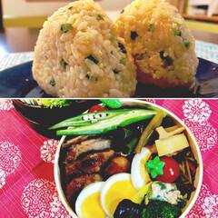 ぶん🐡美味しかったよー〜🐷/たぬきおむすび🍙/お弁当/おうちごはん/フード たぬきおむすび🍙 揚げ玉☆青ネギ☆卵黄 …