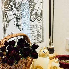 アンティーク灰皿の/ドライフラワー/ムーミン地図/リサラーソン/薔薇より美しい🌹 おはようございます☀ 五月晴れの空  気…