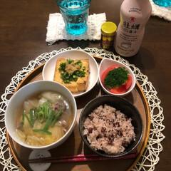 リミ友ちゃんに感謝/虹/夕ごはん 今日の夕ごはん 餅米たくさん頂いたので、…