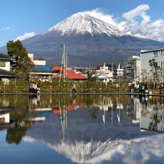 富士山世界遺産センター/富士山/おでかけ 水面に 富士山が 映っているの わかりま…
