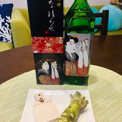 わさび/お酒/お正月 地酒  と   わさび 鮫皮で  おろし…