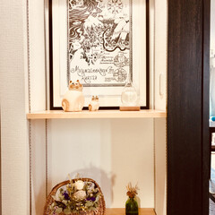 リサラーソン/ねこ/ドライフラワースワッグ/ストームグラス/ムーミン谷地図ポスター/好きな物/... 我が家の 二階  階段正面の 棚 模様替…