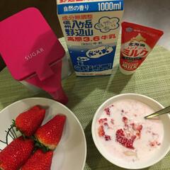 いちごの 形をした スプーン🥄で/デザート/いちごミルク/いちご/フード おはようございます☀ 🍓いちご そのまま…