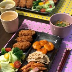 今日のお弁当/今日の夕ご飯/おうちごはん 今日の夕ご飯 牡蠣フライ エビチリ 蓮根…
