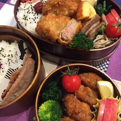お弁当/ヒレカツ/とんかつ/フード 今日のお弁当🍱🍙 ヒレカツ弁当! 受験生…