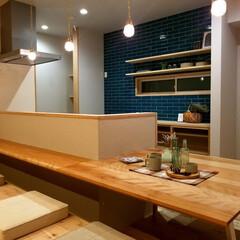 新築/不動産・住宅/滋賀県/キッチン/タイル/北欧/... ブルーのタイルがアクセントに♪北欧テイス…