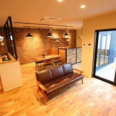 新築/不動産・住宅/滋賀県/モデルハウス/ブルックリンスタイル/インテリア/... レンガの壁がとてもインパクトのあるブルッ…