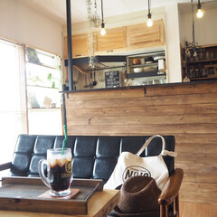 カフェ風/カフェトレイ/wagonworksさん/キッチンカウンター/賃貸/賃貸DIY/... お家カフェが落ち着きます♪