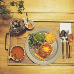 カフェ風インテリア/おうちカフェごはん おうちカフェごはん♪ 手作り木製トレーに…