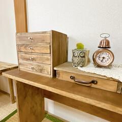 テーブルDIY/DIY家具/DIY女子/引き出しDIY/古道具風/古道具/... 気付いたら和室の家具ほとんど手作り𓇬𓂂𓈒…(2枚目)