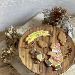 ケーキスタンド/花のある暮らし/sweets/スイーツ/大阪カフェ/ドライフラワー/... なによりアイシングクッキーが可愛い!そし…(1枚目)
