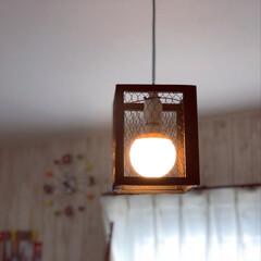 電球/インテリア/DIY/100均/セリア/家具/... セリアのメッシュフレーム4個使って照明を…