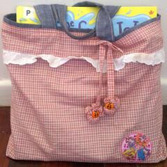 子供部屋/図書バッグ/手作り 長女が入園するときに作ったライブラリーバ…