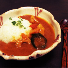 カレー/秋野菜/茄子/蓮根/根菜/益子焼/... カレーは具材で季節を楽しめるので1年中食…