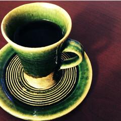 カップアンドソーサー/織部/益子焼/お気に入り/珈琲 織部のカップとソーサー。小さなめなので、…
