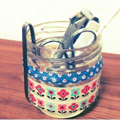 マスキングテープ/アレンジ/空き瓶/小物入れ/DIY 空き瓶にマスキングテープをはってかわいー…