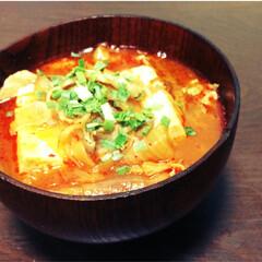 純豆腐/スンドゥブ/秋/おうちごはん/ダイエット 豆腐、豚肉、玉ねぎをたっぷり入れた具だく…