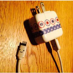 iPhone/じゅう/充電器/マスキングテープ/アレンジ/かわいい/... スマホの充電器をマスキングテープでかわい…