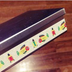 マスキングテープ/空き缶/シンプル/アレンジ/お気に入り お菓子の入っていたシルバーの缶を、マスキ…