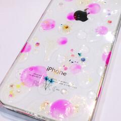 おしゃれ小物/可愛い/かわいい雑貨/大人可愛い/オーダーメイド/受注製作/... 水滴と押し花のiPhoneケース iPh…