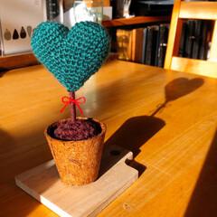 ♡型のtree/編み編み大好き/ハンドメイド/雑貨/インテリア こんなん編み編みしてみました💕 ♡型のt…