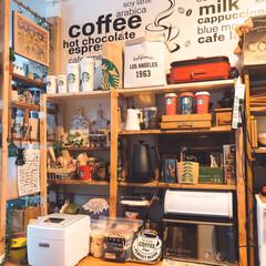 スタバ好き/あけおめ/DIY/キッチン/雑貨/100均/... DIYしたお気に入りの棚! ちょっと配置…