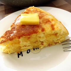 甘くておいしい/フワフワ/でっかいホットケーキ/フライパン/ホットケーキ/至福のひととき/... 急にホットケーキが食べたくなり、フライパ…