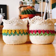 チューリップ模様編み/編み編み大好き/ハンドメイド 昨日の夜、何か編み編みしたくて...🤣 …