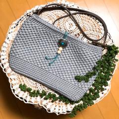 コットンヤーン/ショルダーバッグ/編み編み大好き/ハンドメイド/100均/ダイソー/... 毎日ちまちま編んでました! 春🌸用のショ…