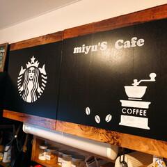 黒マステ/リメイクシート/Cafe風/ステンシル/フォロー大歓迎/キッチン/... kitchenの吊り戸デス!  自作簡易…